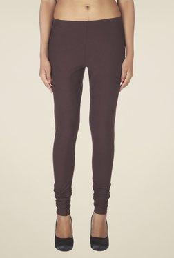 Soie Brown Solid Cotton Leggings