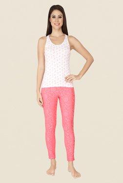 Soie Pink Self Print Cotton Leggings