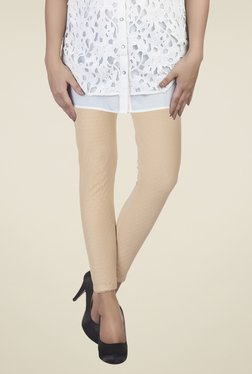 Soie Beige Self Print Cotton Lycra Leggings