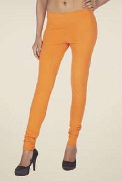 Soie Orange Solid Cotton Leggings
