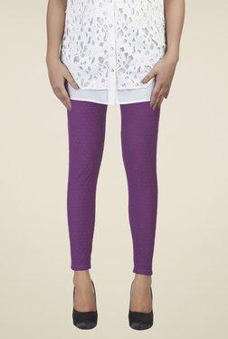Soie Purple Self Print Leggings