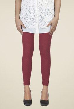 Soie Maroon Self Print Leggings