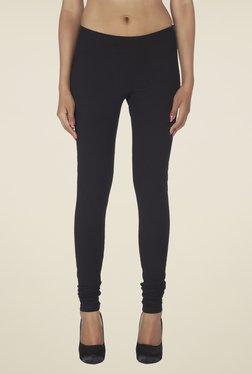 Soie Black Solid Cotton Leggings