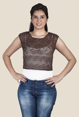 Soie Brown Lace Top