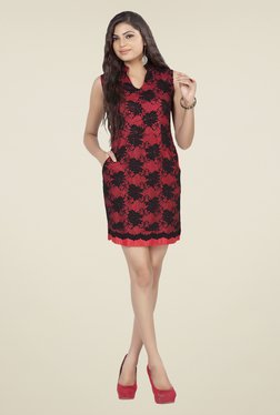 Soie Maroon & Black Embroidered Dress
