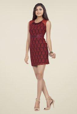 Soie Maroon Lace Dress