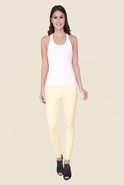 Soie Ivory Self Print Cotton Leggings