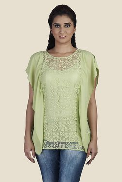 Soie Green Lace Regular Fit Top