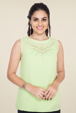 Soie Lime Green Solid Top