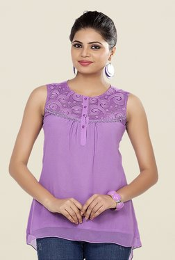 Soie Purple Lace Sleeveless Top