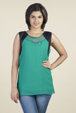Soie Green Solid Regular Fit Top