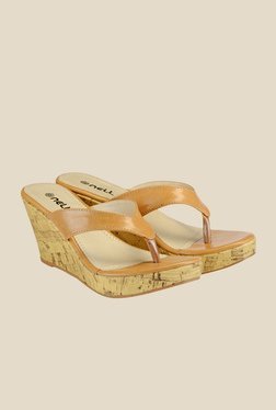 Nell Beige Wedge Heeled Thong Sandals