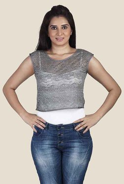 Soie Grey Lace Sleeveless Top
