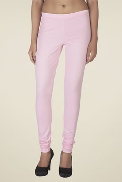 Soie Baby Pink Solid Cotton Leggings