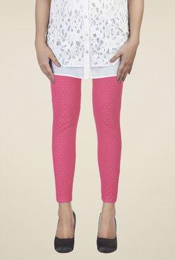 Soie Pink Self Print Leggings