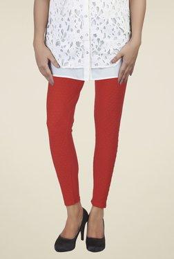 Soie Red Self Print Leggings