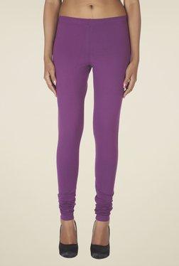 Soie Purple Solid Cotton Leggings
