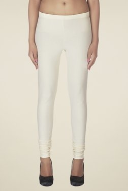 Soie Ivory Solid Cotton Leggings