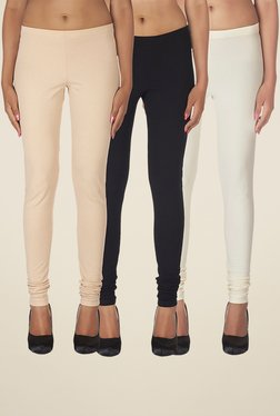Soie Beige, Black & Off White Solid Leggings (Pack Of 3)