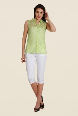 Soie Green Lace Sleeveless Top