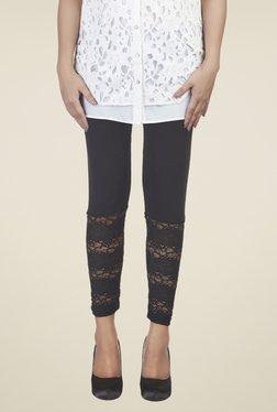 Soie Black Lace Cotton Leggings