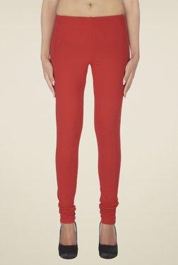 Soie Red Solid Cotton Leggings