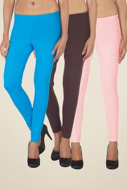 Soie Turquoise, Brown & Baby Pink Solid Leggings (Pack Of 3)