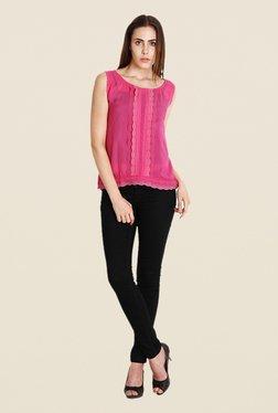 Soie Dark Pink Lace Top
