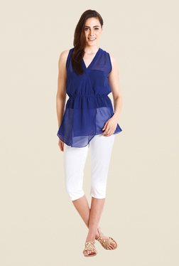 Soie Blue Solid Sleeveless Top