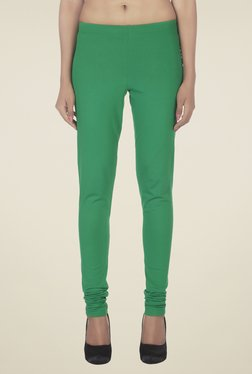 Soie Green Solid Cotton Leggings