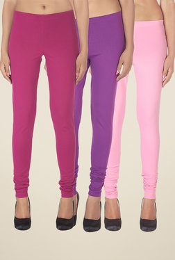 Soie Magenta, Purple & Baby Pink Solid Leggings (Pack Of 3)
