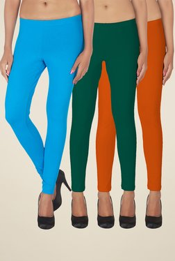Soie Turquoise, Teal & Orange Solid Leggings (Pack Of 3)