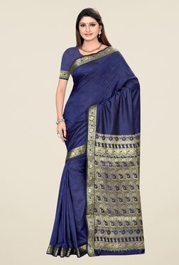 Triveni Dark Blue Printed Art Silk Saree