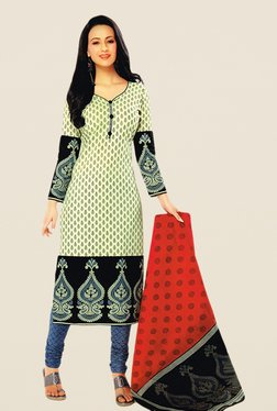 Salwar Studio Cream & Grey Floral Print Dress Material