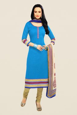Salwar Studio Blue & Bronze Floral Print Dress Material