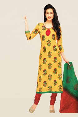 Salwar Studio Yellow & Red Print Cotton Dress Material