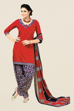 Salwar Studio Red & Blue Floral Print Cotton Dress Material