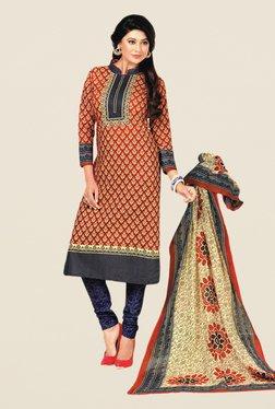 Salwar Studio Red & Violet Floral Print Dress Material