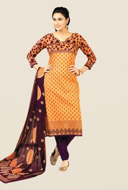 Salwar Studio Orange & Violet Floral Print Dress Material