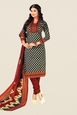Salwar Studio Black & Maroon Floral Print Dress Material