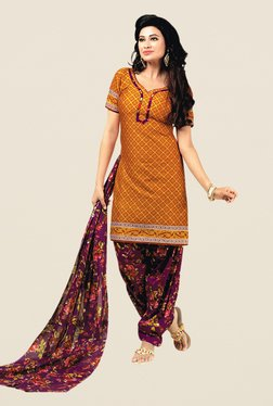 Salwar Studio Mustard & Purple Floral Print Dress Material