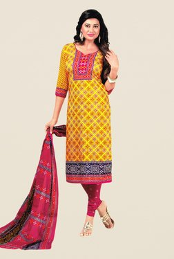 Salwar Studio Yellow & Pink Floral Print Dress Material