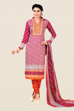Salwar Studio Pink & Orange Floral Print Dress Material
