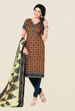 Salwar Studio Brown & Blue Floral Print Dress Material