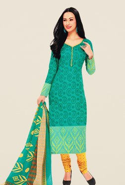 Salwar Studio Sea Green & Yellow Dress Material
