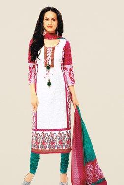 Salwar Studio White & Green Floral Print Dress Material