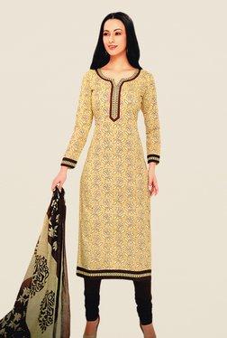 Salwar Studio Beige & Brown Floral Print Dress Material