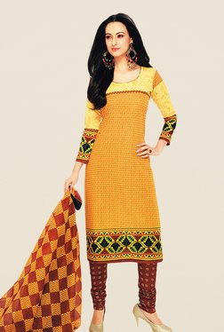 Salwar Studio Yellow & Brown Floral Print Dress Material