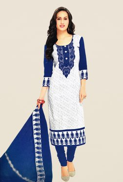 Salwar Studio White & Blue Print Cotton Dress Material