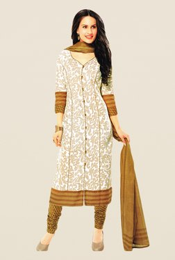 Salwar Studio Off White & Beige Floral Print Dress Material